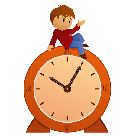 Cartoon little boy sitting on vintage clock. Vector illustration.