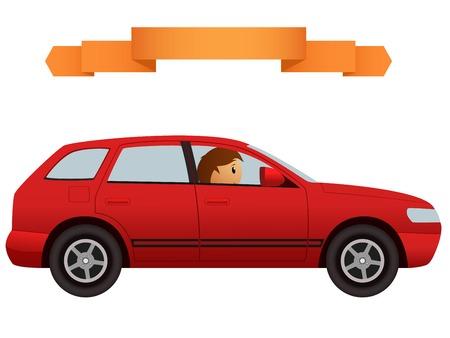 Bestuurder in de moderne rode auto crossover. Vector illustratie.