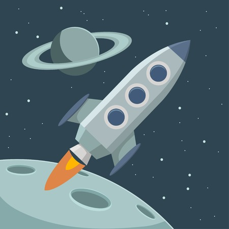 Retro color space with rocket and planets. Vector illustration.