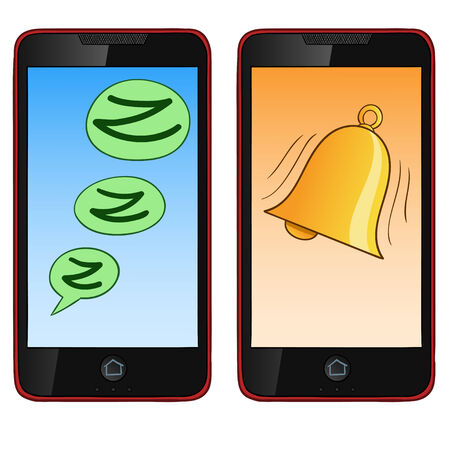 Cartoon hand draw cell phone in two mode. Vector illustration Vector