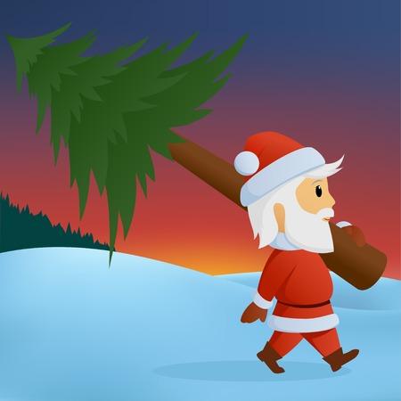 Cartoon santa carry the christmas tree on winter background. Vector illustration. Illustration