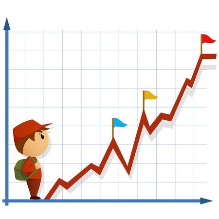 漫画のインフォ グラフィックを登るするバッグ行くと小さな男。ベクトル イラスト。  イラスト・ベクター素材