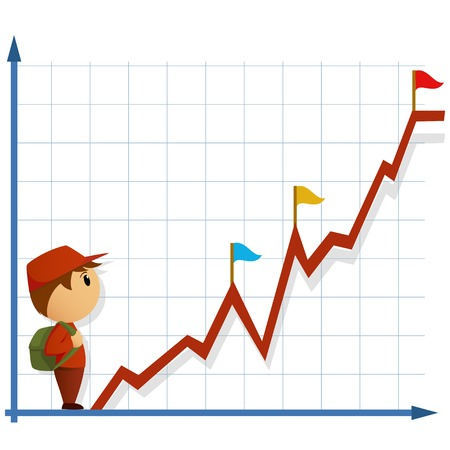 Cartoon little man with bag going to climb on infographic. Vector illustration. Illustration