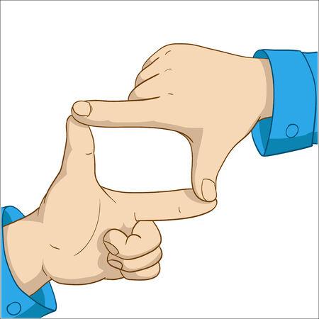 Cartoon hands frame isolated on white background. Vector illustration. Ilustracja