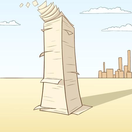 Stack of paper flying away on desert landscape background. Vector illustration. Illustration