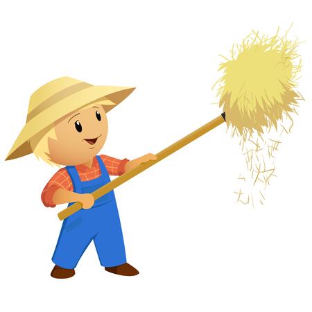 Cartoon Farmer hay in hat with pitchfork. Vector Illustration. Ilustracja