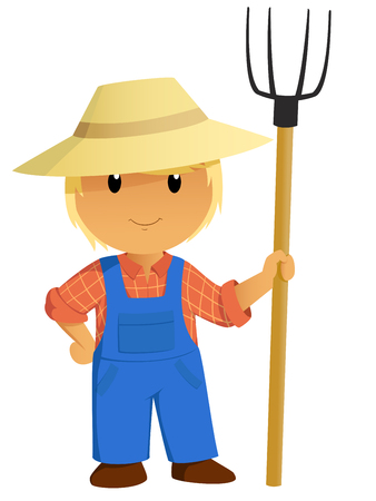 coverall: Cartoon Farmer Character in hat with pitchfork. Vector Illustration. Illustration