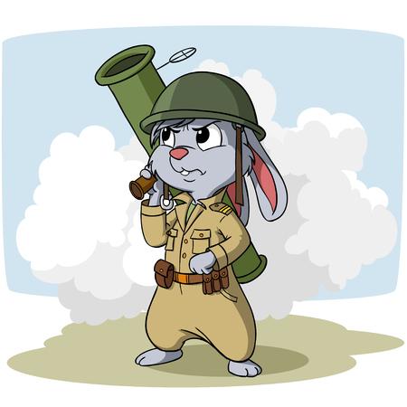 Cartoon bunny with bazooka on the smoke background