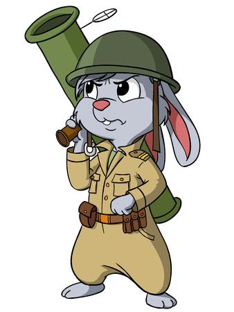 Cartoon bunny with bazooka on the white background