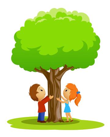 白い背景の上の木に触れた少年と少女漫画の場所