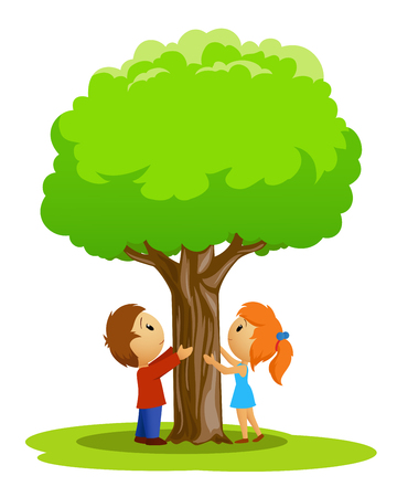 Cartoon place with boy and girl touched tree on the white background