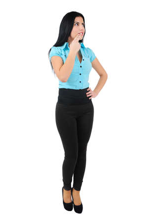 Isolated young business girl thinking photo