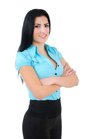 Isolated young business girl standing photo