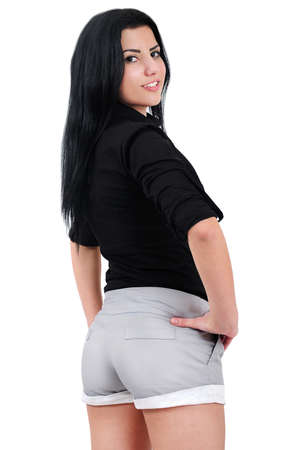 Isolated young casual woman standing photo
