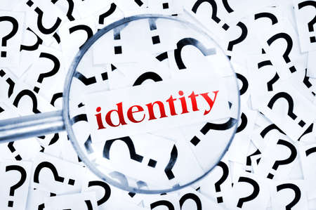 Identity word found in many question marks Stock Photo - 18937198