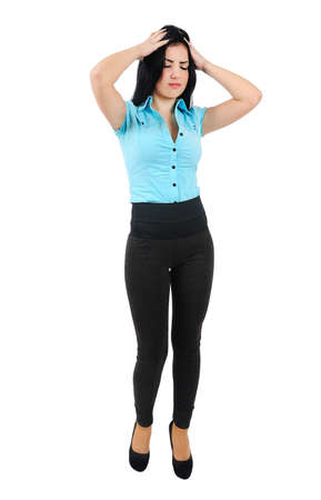 body pain: Isolated young business girl depressed