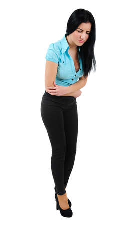 upset stomach: Isolated young business girl stomach pain