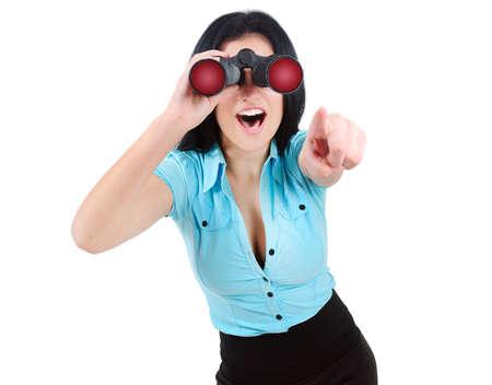 femme bouche ouverte: Isolé entreprise recherche de femme avec binoculaire