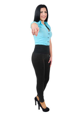 Isolated young business girl pointing Stock Photo - 19560619