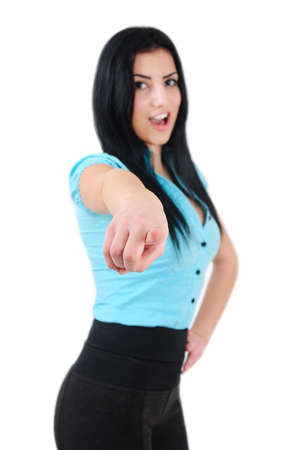 Isolated young business girl pointing photo