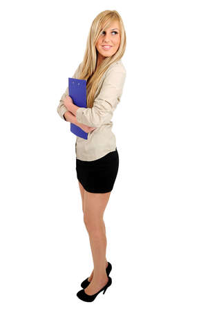 Isolated young business woman holding clipboard photo