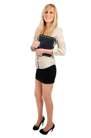 Isolated young business woman standing photo