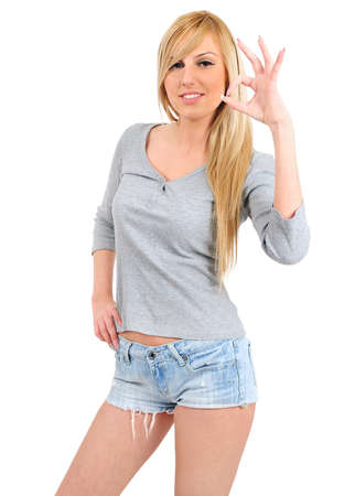 Isolated young casual girl agreement photo