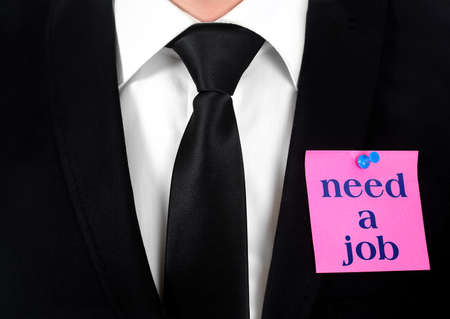 Post with need a job on chest Stock Photo - 19708242