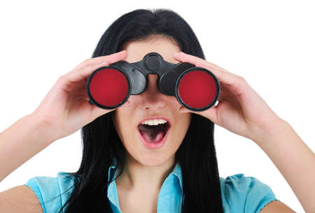 Isolated business woman search with binocular photo