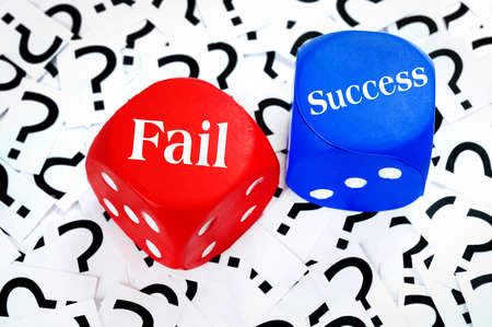 Fail or Success word on question mark background photo