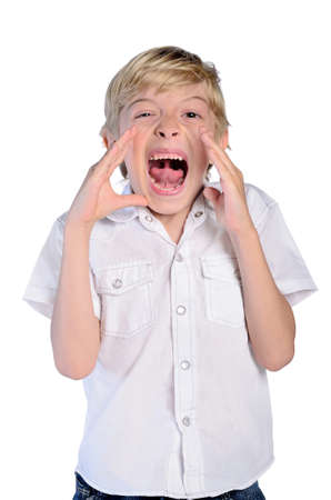 young boy scream on white background photo