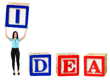 Woman raise letter from word Idea photo