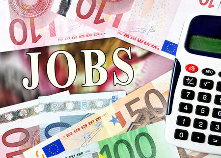 Jobs word with money background photo