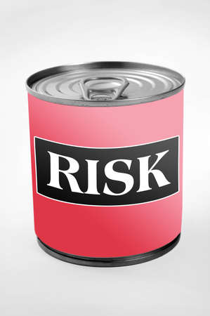 Risk word on can label photo