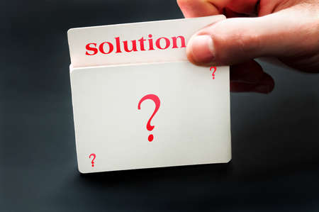Solution card from question deck of cards photo