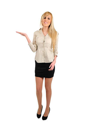 Isolated young business woman holding empty palm Stock Photo