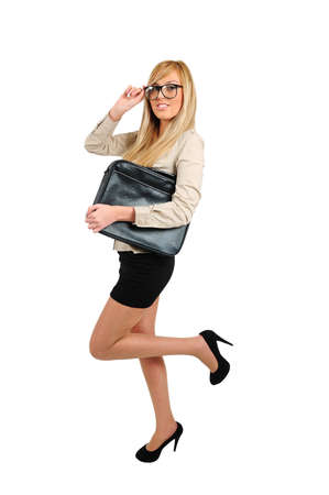 Isolated young sexy nerd with briefcase photo