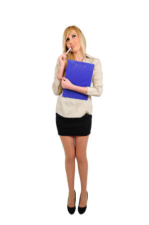 Isolated young business woman thinking with clipboard photo