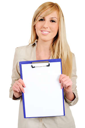 promover: Isolated young business woman promote