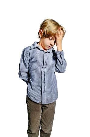 isolated child upset headache unhappy photo