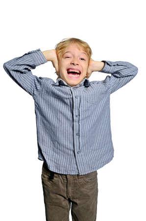 bawl: isolated child scream no hear Stock Photo