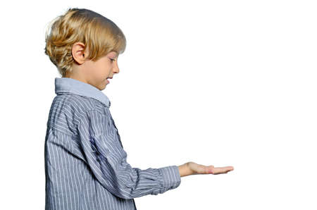 male palm: isolated child boy holding palm Stock Photo