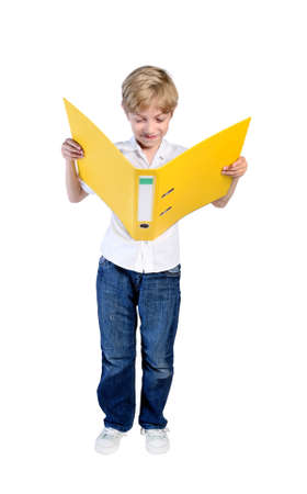 dossier: isolated child boy read dossier
