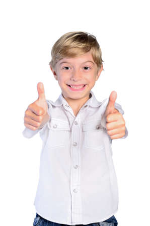 Young boy agree on white background photo
