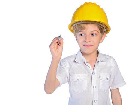 isolated child boy with helmet and pen photo