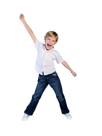 young boy succeed on white photo