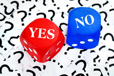 yes or no: Yes or No word on question mark background Stock Photo