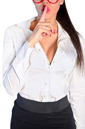 Isolated young business woman hush Banco de Imagens