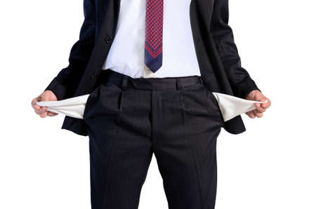 Isolated young business man unemployed photo