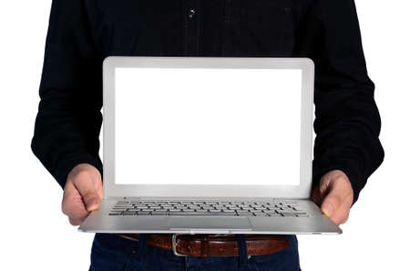 Isolated young business man showing notebook photo